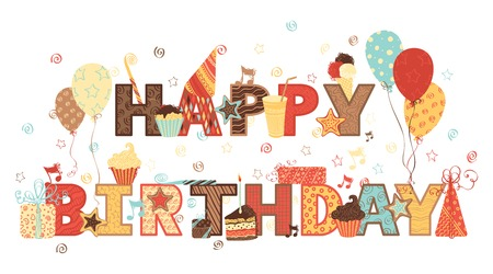 birthday cards: Happy Birthday! Ornate text and birthday elements for your design. Illustration