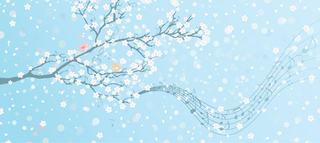 garden key: Melody of Spring. Tree in bloom with notes on its branches. Spring background with place for your text on the right. All elements are on separate layers.