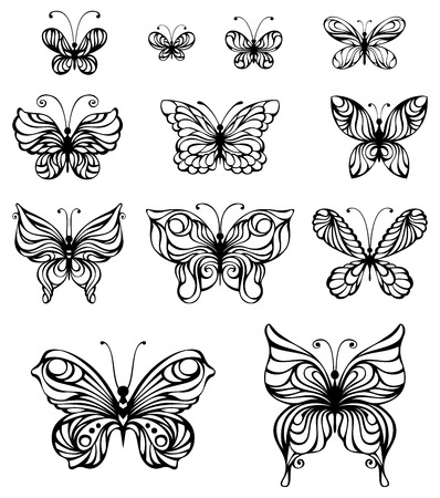Vector set of vintage butterflies. Hand-drawn ornate butterflies isolated on white background.
