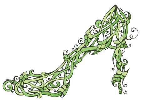 nature woman: Green nature woman shoe. Leaves ornament isolated on white background.