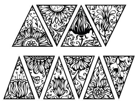 Hand drawn floral triangles. Vector triangles with floral ornament isolated on white background.