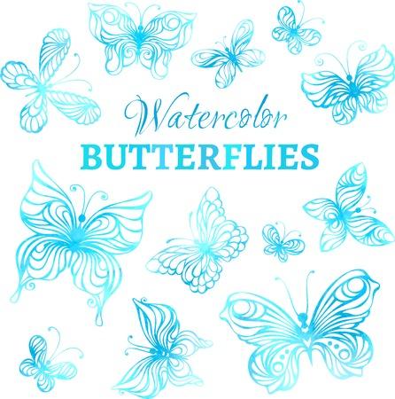 schmetterlinge blau wasserfarbe: Vektor-Satz von Aquarell Schmetterlinge. Blaue Aquarell Schmetterlinge isoliert auf weißem Hintergrund.