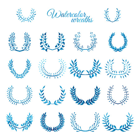 watercolour: Vector set of blue watercolour wreaths. Nature wreaths isolated on white background. Illustration