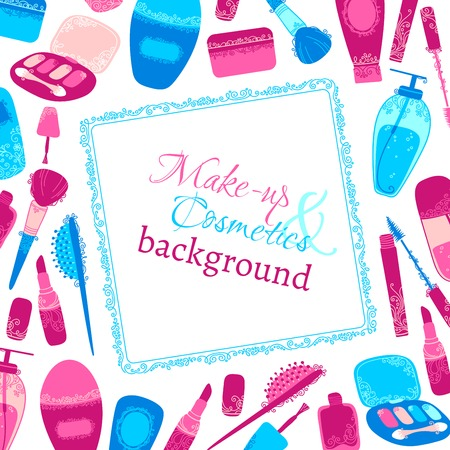 Make-up and cosmetics background. Hand-drawn elements of body care and cosmetics with vintage ornament. There is place for your text in frame. Vector