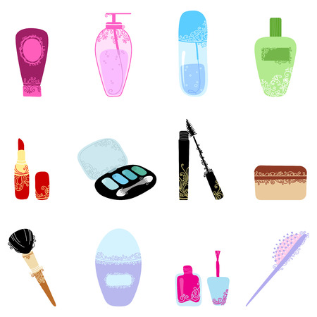 Cosmetics icon set. Hand-drawn design elements of body care and cosmetics with vintage ornament for your design. Vector