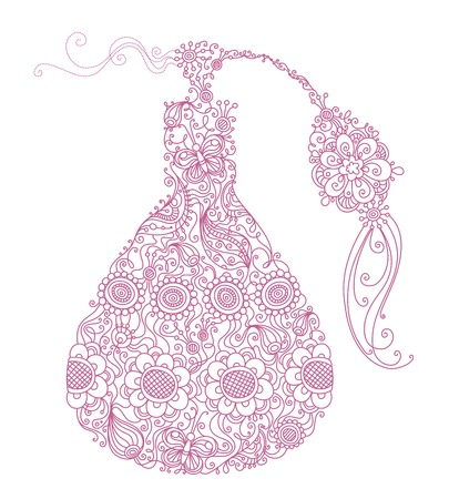 perfume bottle: Floral perfume. Illustration with linear floral elements and patterns isolated on white background.