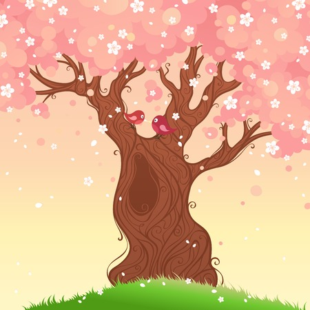 cherry wood: Spring tree background. Spring landscape. Vector illustration. There is place for your text. Illustration