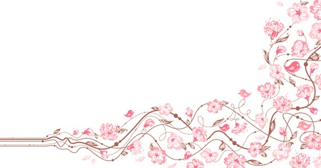 pink swirl: Spring floral ornament. Hand-drawn ornate flowers in bloom on a branch. There is place for your text on white area.
