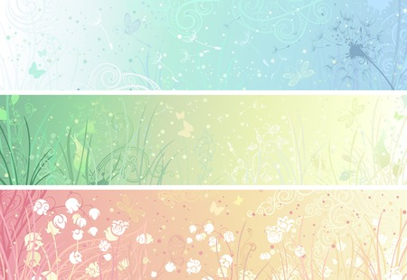 Set of floral banners. Three banners for your design. Dandelion, flowers, grass, butterflies in pastel colours. There are places for your text.