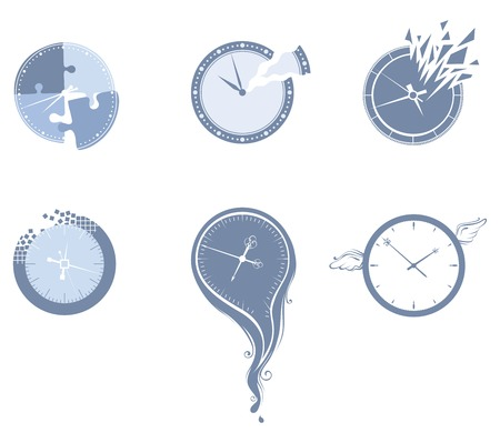 time fly: Lost time icon set. Set of various clocks isolated on white background. Illustration