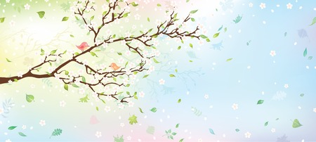 april flowers: Spring tree background. Nature background for your design with place for your text on the right. Vector illustration.