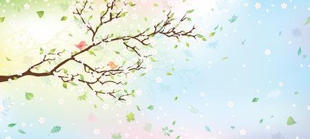 Voorjaar boom achtergrond. Natuur achtergrond voor uw ontwerp met plaats voor uw tekst aan de rechterkant. Vector illustratie. Stock Illustratie