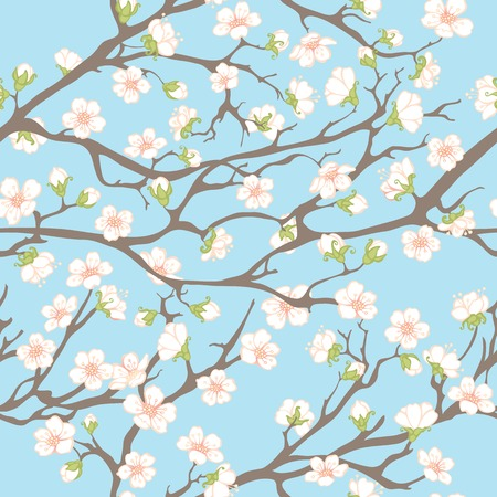 asian pear: Spring seamless pattern. Spring background with branches and flowers for your design.