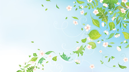 Spring in the air. Spring background for your design with  place for your text in the sky. Illustration