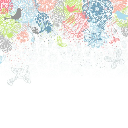bottom: Bright floral background. Ornate pattern of butterflies, flowers and birds on white background. There is place for your text on bottom. Illustration