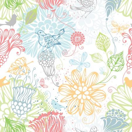 Patrón de la naturaleza sin fisuras. Fondo brillante adornado con flores, mariposas y aves.