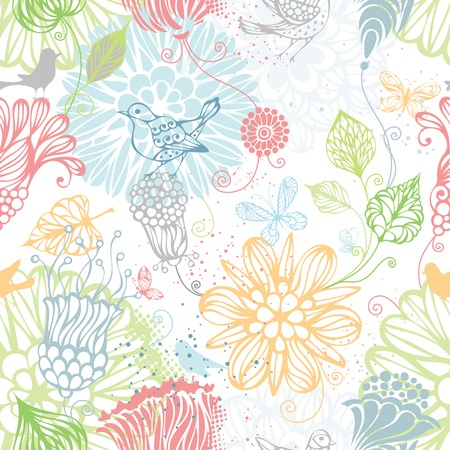 Seamless nature pattern. Ornate bright background with flowers, butterflies and birds. Vector