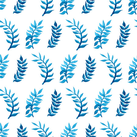Vector seamless watercolour pattern. Nature background. Blue and green watercolor leaves on white background. Vektorové ilustrace
