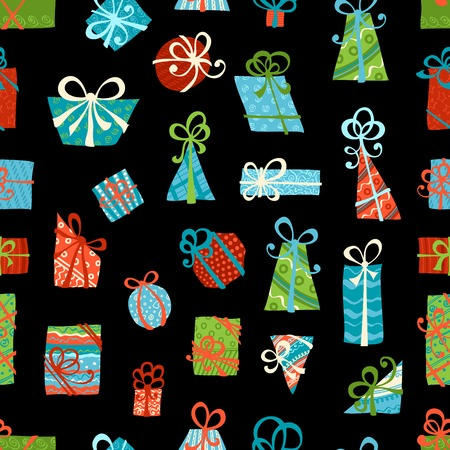 Seamless pattern of gift boxes. Bright various boxes on black background. Vector illustration. Vector