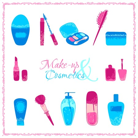 Make-up and cosmetics icon set. Hand-drawn elements of body care and cosmetics with vintage ornament isolated on white background. Vector