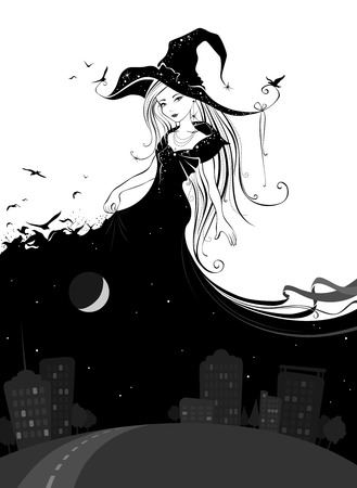 Lady Night. Illustration in black and white colors. Vector