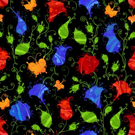 Dark seamless watercolor pattern. Grunge textile or wallpaper floral pattern with bright red and blue flowers, yellow butterflies on black background. Vector