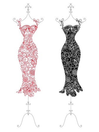 pretty dress: Floral dresses on a stand. Red and black dresses with linear floral elements and patterns.