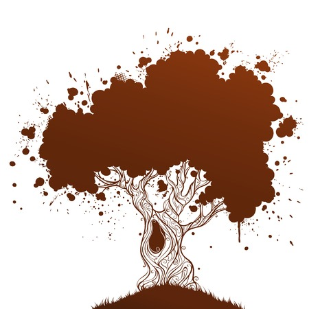 Grunge ink tree. Grunge tree with blobs and place for your text. Duotone illustration.