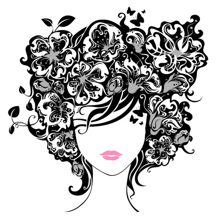 butterflies abstract: Woman with flowers in hair. Illustration has abstract floral elements, leaves, butterflies, patterns. Isolated on a white background.