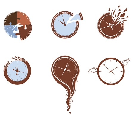 time fly: Lost time icon set. Six various clocks isolated on white background. Illustration