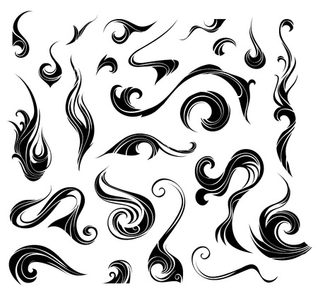 swirl design: Abstract vector swirls. Black ornate elements for your design isolated on white background.