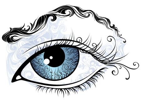 eyebrow: Vintage eye illustration. Abstract eye and eyebrow isolated on white background.