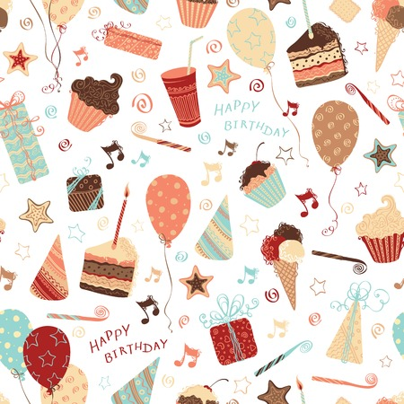 Seamless birthday pattern. Ornate pattern with birthday elements. Can be used for wrapping paper.