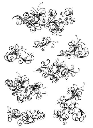 Elementos de diseño floral de la vendimia. Página naturaleza divisores y decoraciones a mano dibujado aislados sobre fondo blanco. Foto de archivo - 38990256