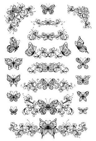 Vector bloemenpatronen met vlinders. Vintage natuur pagina verdelers en decoraties met vlinders op een witte achtergrond. Sierlijke elementen voor uw ontwerp.