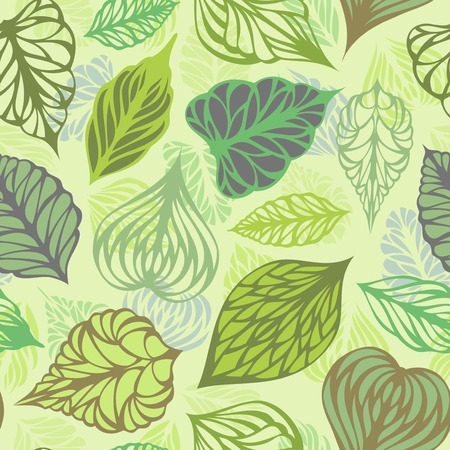 Vector seamless nature pattern. Various ornate leaves on light background. Vector