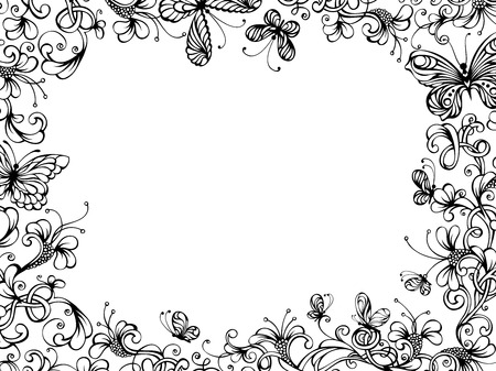 butterfly pattern: Hand-drawn floral background. Hand-drawn floral frame with butterflies on white background. There is place for your text in the center. Illustration