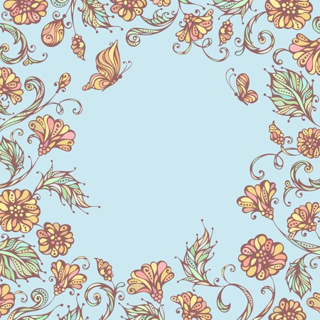 Floral background. Pastel ornate flowers and butterflies. There is blank place for your text in the center. Vector