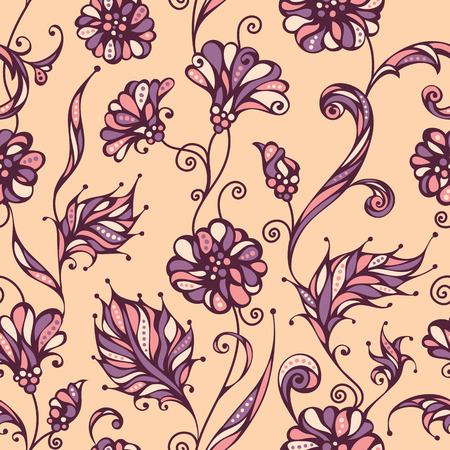 flower patterns: Modelo floral incons�til. Brillante fondo adornado de flores y hojas. Contornos, antecedentes y elementos de colores est�n en capas separadas.