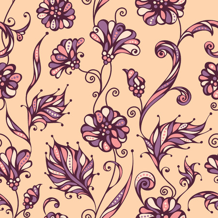 outline flower: Seamless floral pattern. Bright ornate background of flowers and leaves. Outlines, background and coloured elements are on separate layers.