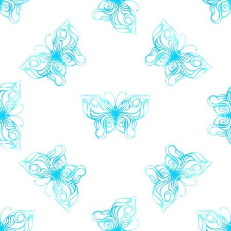Seamless pattern of watercolor butterflies. Blue butterflies on white background. Vector