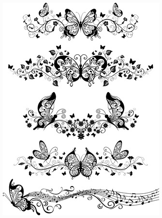 nota musical: Elementos adornados para su diseño aislados sobre fondo blanco. Vectores