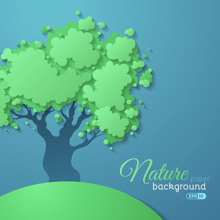 hillock: Paper nature background. Green vector tree on blue paper background. There is place for text. Illustration