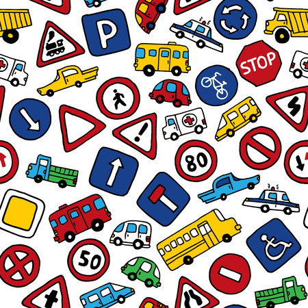 Seamless pattern of doodles road signs and cars. Vector bright background in cartoon style. Can be used for children wallpapers web site background or wrapping paper. Vector