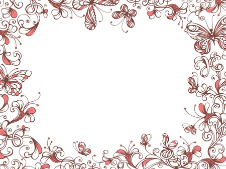 butterfly border: Vintage floral pattern with butterflies on white background. There is place for your text in the center. Illustration