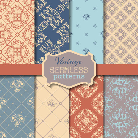Vector set of vintage seamless patterns. Retro designs can be used for web page backgrounds wallpapers wrapping papers invitation congratulation or greeting cards. Vector