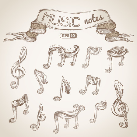 clefs: Vector hand-drawn sketch. Music notes and treble clefs.