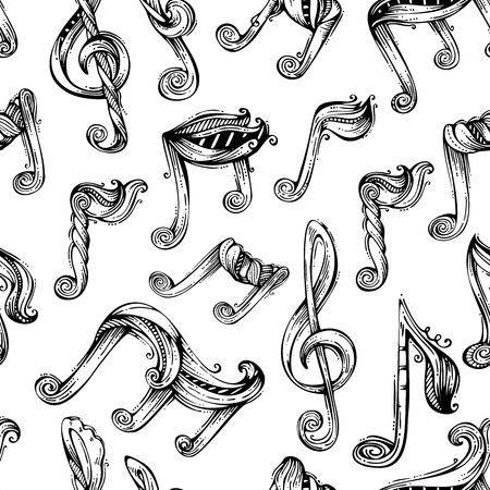 scroll shape: Seamless music pattern. Black and white handdrawn background.