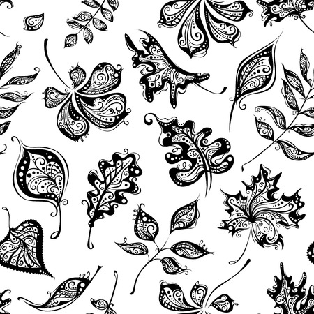 Seamless pattern of vintage leaves. Ornate background of handdrawn leaves for your design. Black and white illustration. Vector