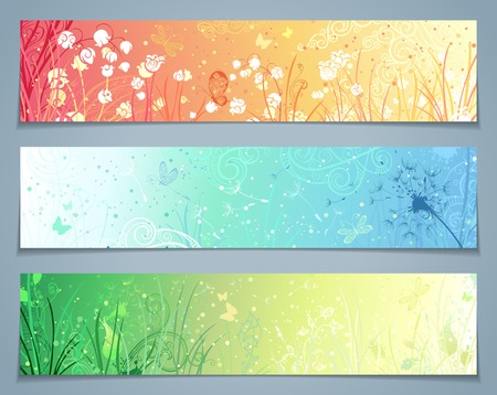 flourishes: Vector set of floral banners. Three templates for your design. Dandelion flowers grass butterflies in pastel colours. There are places for your text.
